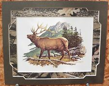 Color Bugling Elk Print by Artist Louis Raymer,Realtree Camo Mat fits 8x10 frame