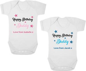 Image Is Loading HAPPY BIRTHDAY DADDY Baby Bodysuit Grow Vest Romper