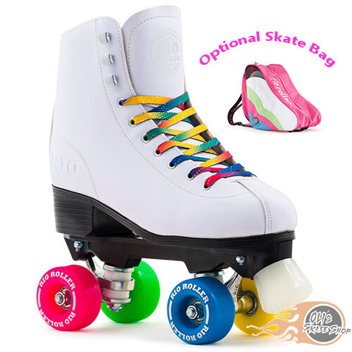 Rio Roller Figure Quad Skates White Girls Womens Optional Skate Bag