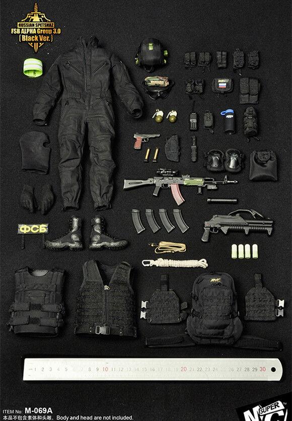 Envíos y devoluciones gratis. súpermcJuguetes súpermcJuguetes súpermcJuguetes M-069A Negro 1 6 Rusia Alforjas antiterrorista conjuntos de ropa  cómodo