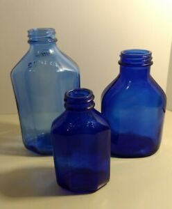 Lot-of-3-Vintage-Collectible-Cobalt-Blue-Squibb-Glass-Bottles-Antique-Used