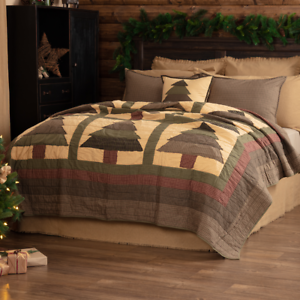 SEQUOIA-QUILT-SET-choose-size-amp-accessories-Cabin-Christmas-Pine-Tree-VHC-Brands