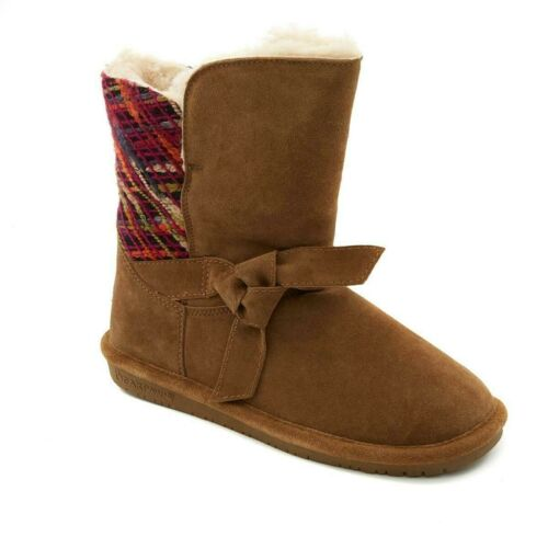 """CLEARANCE $  Bearpaw  GENEVA HICKORY Neverwet  Suede /& Knit /"""" Boot   $99.95+"""