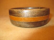 "Earthy Natural Wooden Bangle Bracelet - 2 Tone Wood, Nice Grain 1"" W Jewelry"