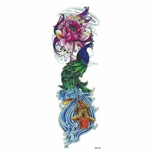 Art Body Tattoo Sticker Temporary Full Flower Arm Fish Peacock Lotus