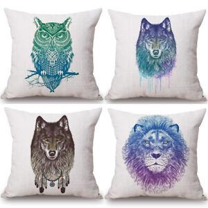 WaterColour-Animal-Cushion-Cover-Pillow-Case-Cotton-Linen-Sofa-Car-Home-Decor