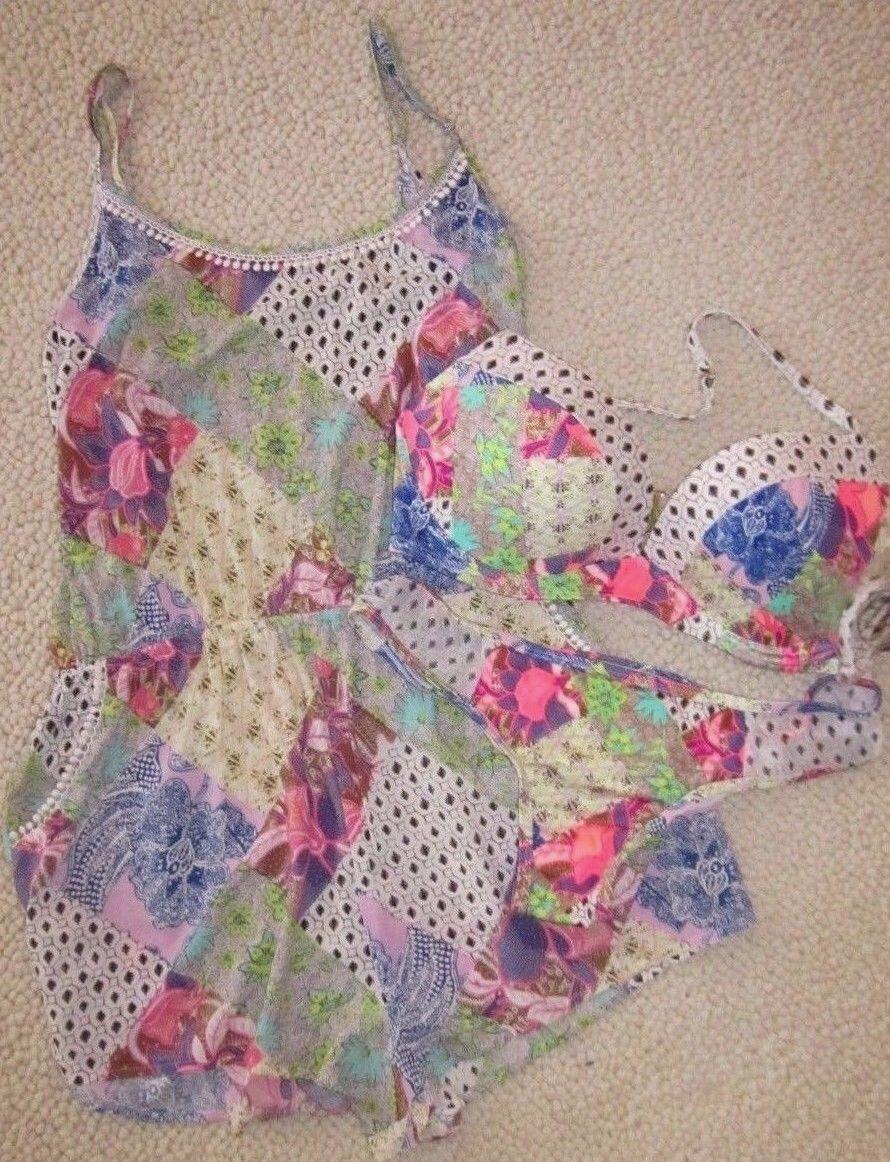 3 Piece Victoria Secret Congreen top 36D Mesh Patchwork L bikini Medium Cover-up