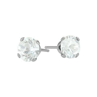 1.10Ct. Genuine 5mm Round White Topaz 14K WG Stud Earrings