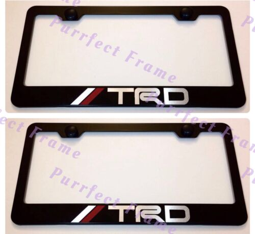 2X TRD OFF ROAD SPORT 4x4 Stainless Steel Black License Plate Frame Rust Free