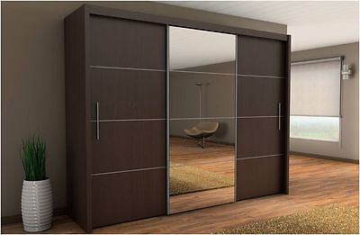 Inova Sliding Door Wardrobe Wenge Bedroom Furniture Chest of Drawers Bedside