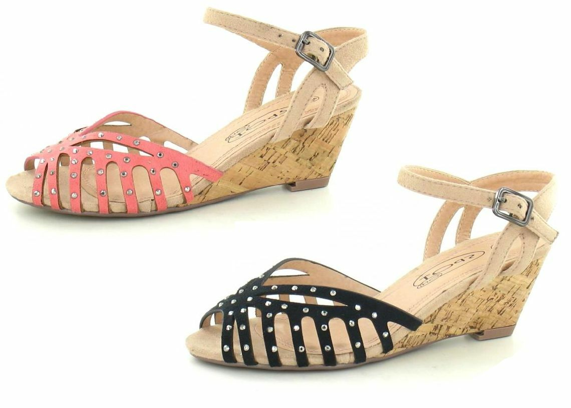 SALE LADIES SHOES SPOT STRAP ON DIAMANTE WEDGE ANKLE STRAP SPOT SUMMER SANDALS F10148 fee714