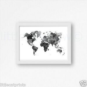 Black and white world map watercolour painting print 7x5 wall art image is loading black and white world map watercolour painting print gumiabroncs Image collections