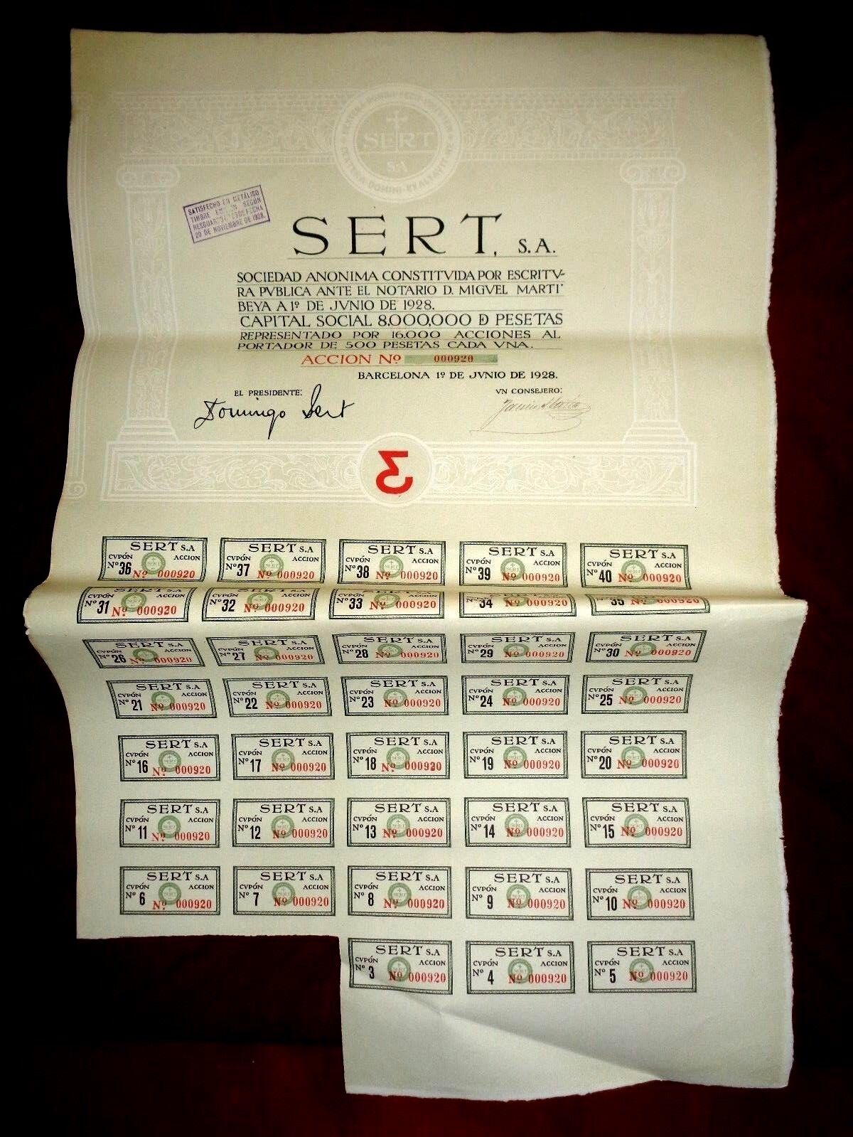 Sert ,SA,Barcelona 1928,Spain, share certificate.