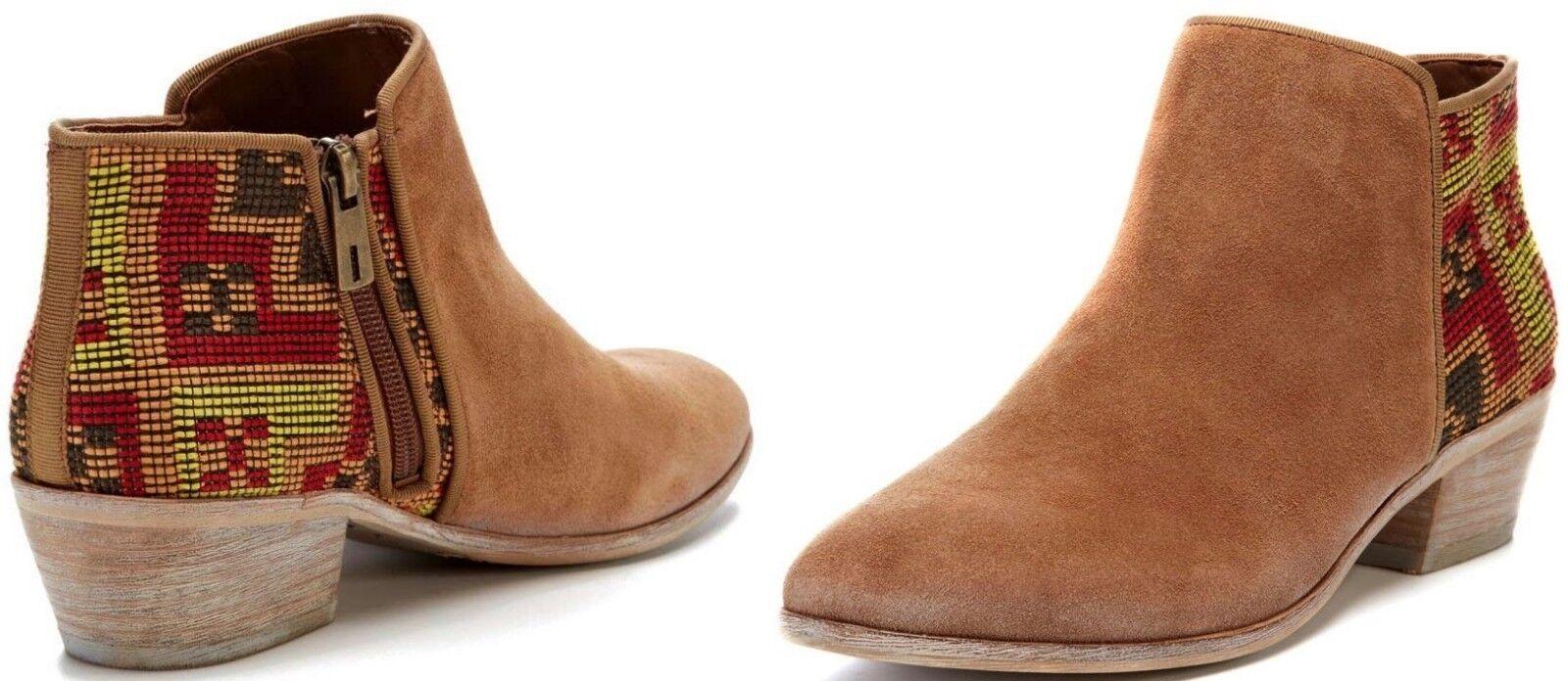 Wouomo Sam Edelman Putnam avvioie Saddle Aztec ankle Suede avvio Stacked heel NEW