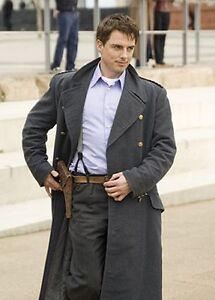 2da45cbea Details about Captain Jack Harkness Grey Woolen Fabric Trench Pea Coat