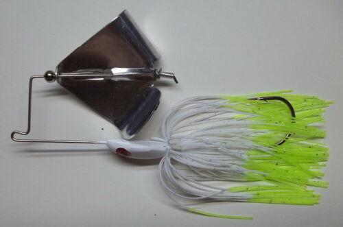 "White//Chart. Custom Made /""Head Thumper/"" Topwater Buzzbait 1//2 Oz -Bass Fishing"