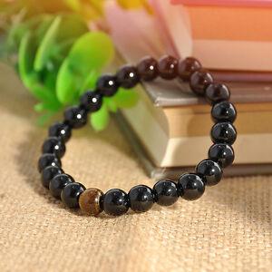 Fashion-Men-Women-Black-Onyx-Agate-Tiger-Eye-Beads-Bracelet-Elastic-Bangle-Gift