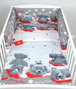 3 PIECES NURSERY BUMPER PILLOW-QUILT COVER to fit COT BABY BEDDING SET