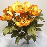 Orange & Gold Jumbo Peony 21 Artificial Fall Floral Flower Bush