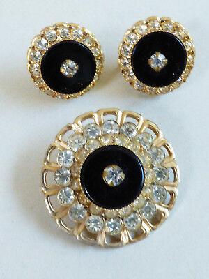 VTG Deco gold tone Black glass & crystal Pin Brooch & screw clip on Earrings set