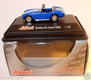 MICRO-METAL-DIE-CAST-SCHUCO-HO-1-87-SHELBY-AC-COBRA-1965-BLEUE-IN-BOX