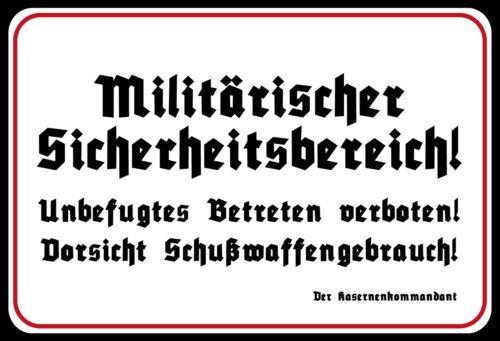 Militärischer Sicherheitsbereich Blechschild Schild Tin Sign 20 x 30 cm SM0101-X