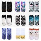 1Pair Lovely 3D Printed Animal Casual Socks Cute Cat Low Cut Ankle Foot Socks