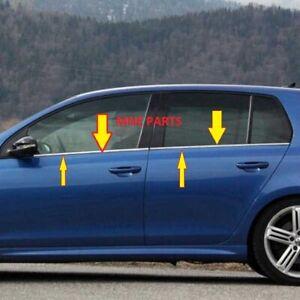 Fuer-VW-Golf-VI-Fensterleisten-Blende-4tlg-Edelstahl-Chrom-2008-2013