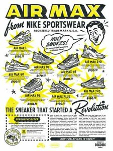 Details about NIKE AIR MAX Wall Poster 24 x 36 inch Vintage Retro Promo Poster