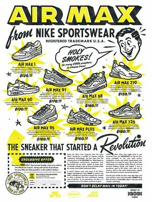 NIKE AIR MAX Wall Poster 24 x 36 inch Vintage Retro Promo Poster | eBay