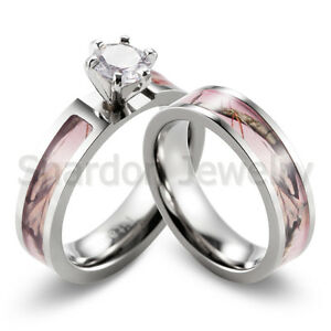 Light Pink Tree Branch Camo Ring CZ Prong Setting