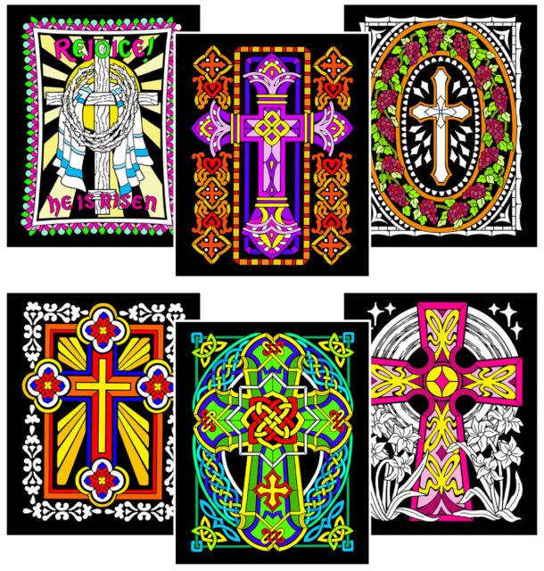Crosses - Six 8x10 Fuzzy Velvet Coloring Posters