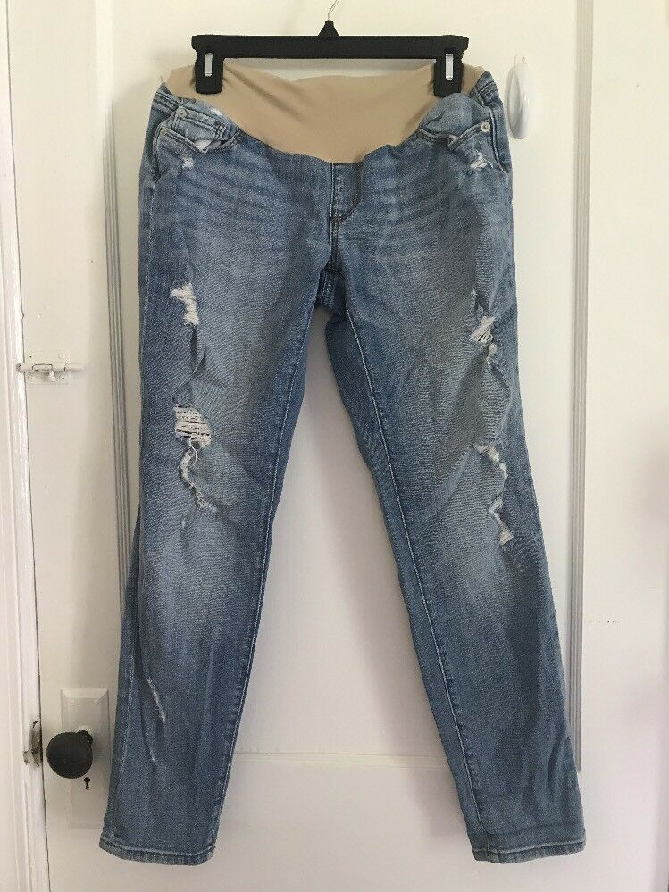 A Pea in the Pod Light Wash Distressed Skinny Maternity Jeans Denim size 28