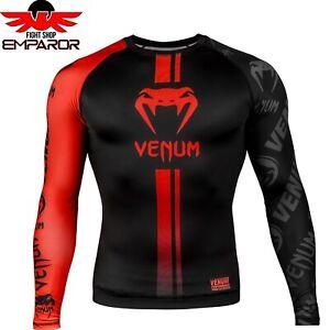 Venum-Rashguard-Logos-LS-Schwarz-Rot-MMA-Fitness-Crossfit-Shirt-Herren-S-M-L-XL