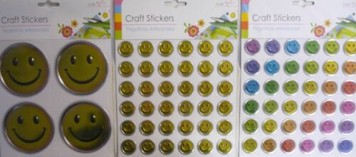 3D Pack of 4 Large or 36 Small Metallic Embossed Craft Smiley Emoji Stickers