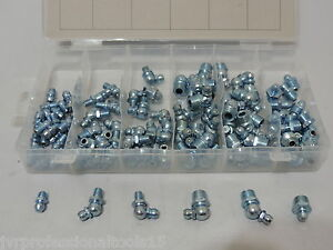 110PC Metric Hydraulic Grease Fitting Assortment Set M6 & M10 Zerk Fittings