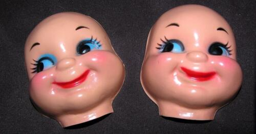 "3/"" SML SMILEY SHINY PLASTIC MASK FACE 2 VTG 1960/'S CLOTH DOLL MAKING SUPPLIES"