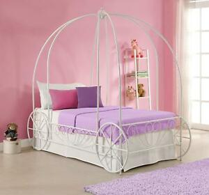 Details about Girls Twin Bed Cinderella Canopy Carriage Bedroom Furniture  Metal White