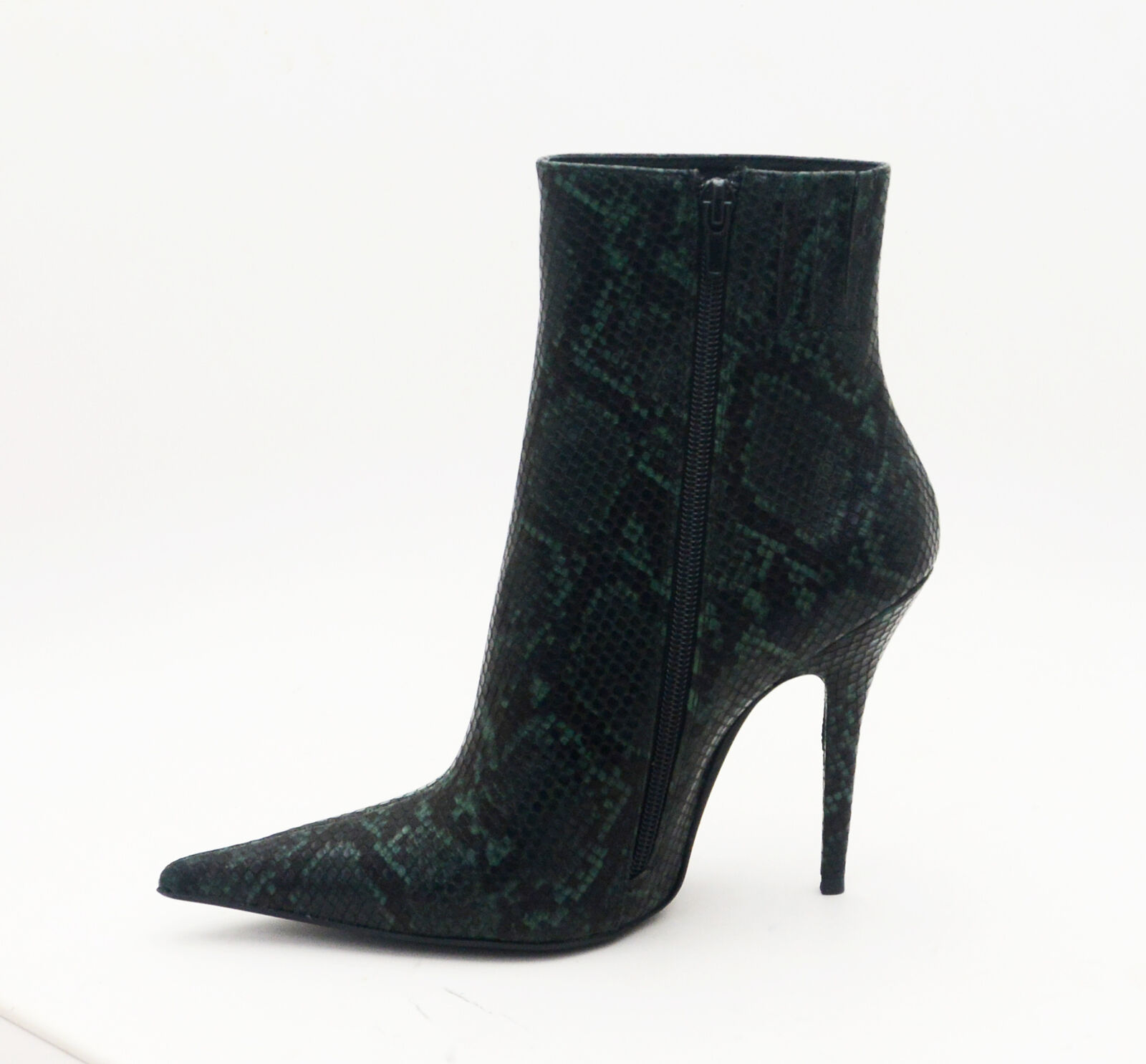 Jeffrey Campbell VEDETTE Bootie Green Snake High Heel Pointed Toe Boots (7.5)
