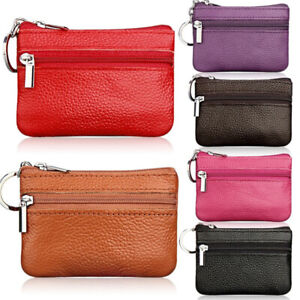 Women-Leather-Double-Zipper-Change-Wallet-Bus-Card-Coin-Purse-With-Key-Clip-q
