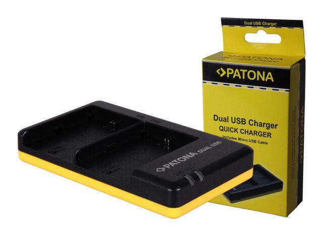 PATONA Dual Schnell-Ladegerät für Canon LP-E6 inkl Mini-USB-Kabel