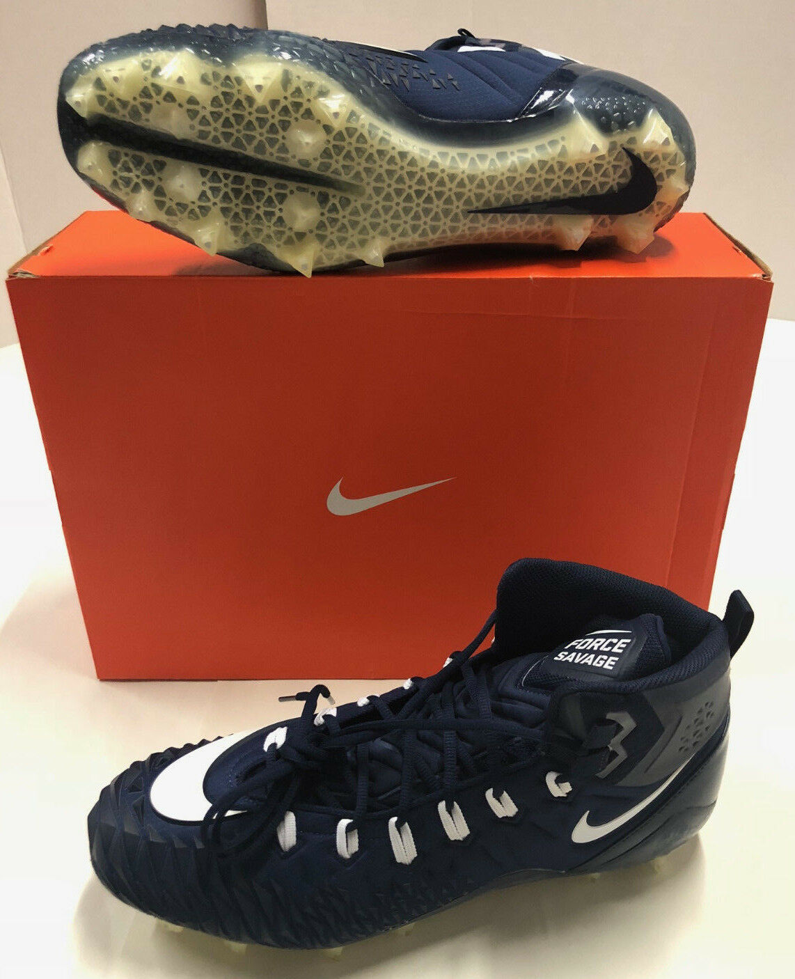 Mens Nike Force Savage Pro TD Promo Navy White Fabric Football Cleats Spikes 17