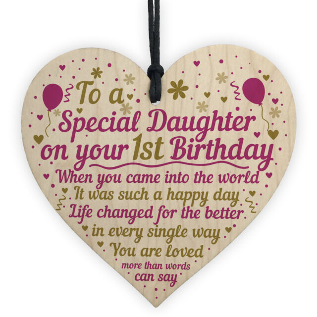 1st First Birthday Baby Girl Wood Heart Plaque Gift For Daughter Mummy Daddy Sale Online