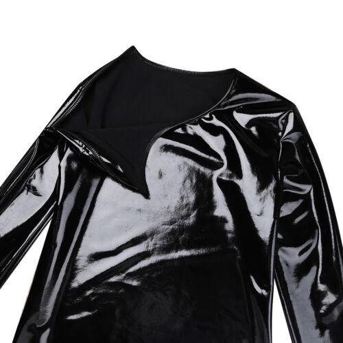 Men/'s Shiny Leather Muscle Tank Top Shirts Clubwear Wetlook Zipper Coat Hip Hop