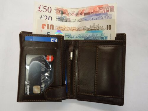 Quality Luxury Men's Cow Leather Wallet Tall Large id Flap Coin Pocket Brown