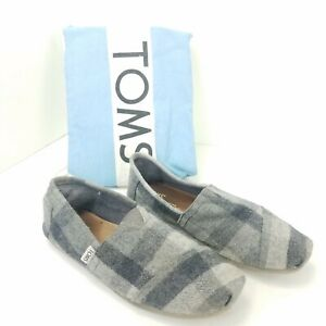 Toms-Slip-On-Wrap-Style-Canvas-Black-Grey-Plaid-Flats-Shoes-Womens-Size-8