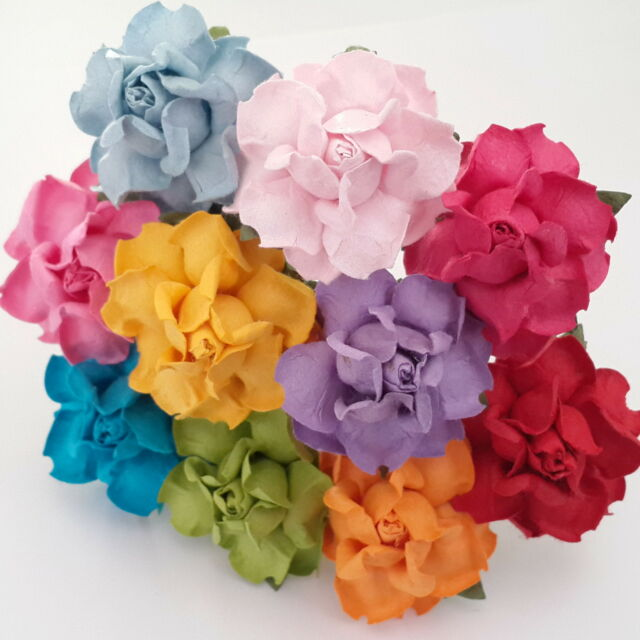 50 Mulberry Paper Flowers Roses Wedding Party Card Headpiece Home decor R21-427