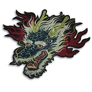 Large-9-inch-Blue-Dragon-Head-patch-iron-on-or-sew-on-shipped-from-USA