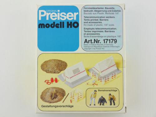 Preiser 17179 Fernmeldearbeiter Bauzelte Absperrung Bausatz OVP ST 1603-23-67