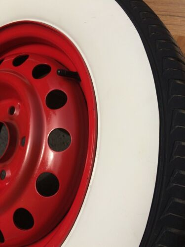 """LARGE 2+2 15/"""" RIM 3/"""" WIDE WHITE WALL SET TYRE TRIM FORD CHEVY HOT ROD RAT ROD"""